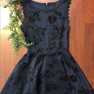 Navy Blue City Studio Glittery Formal Dress